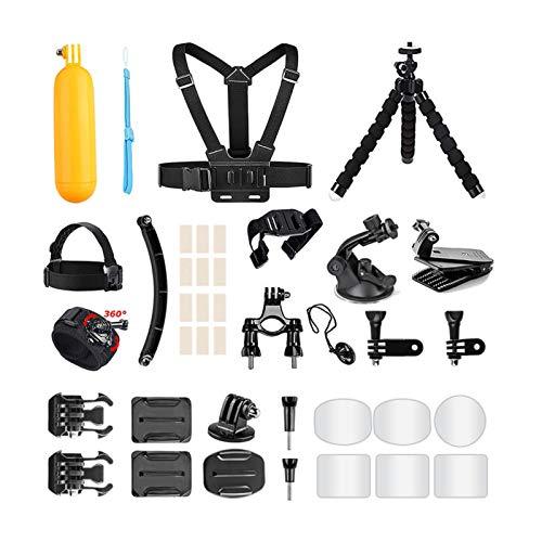 AKASO Action Cam Zubehör Set für GoPro Hero/Vemont Vist APEMAN VicTsizing WIMIUS ODRVM Bopower Action Kamera, Zubehör-Bundle mit Brustgurt/Saugnapf/Fahrradhalterung/Anti-Beschlag-Einsätz