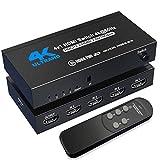 HDMI Switch 4K@60Hz, NerdEthos 4 Port HDMI...