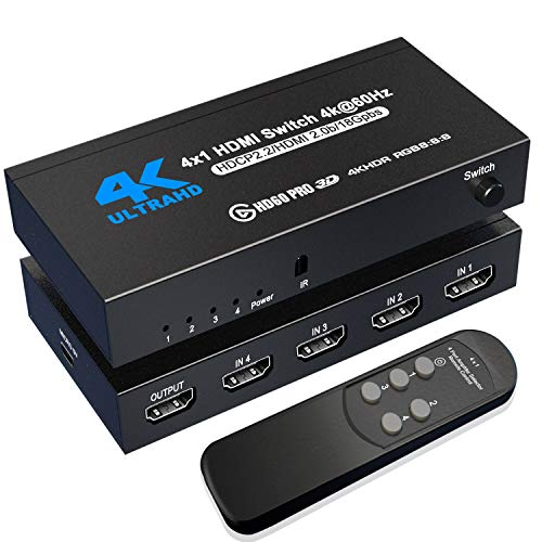 HDMI Switch 4K@60Hz, NerdEthos 4 Port HDMI 2.0 Switcher Selector 4 in 1 Out HDMI Switch with IR Remote Control, Supports 4K HDR10 HDCP 2.2 3D Dolby DST, for PS4 Xbox Fire Stick PC and More
