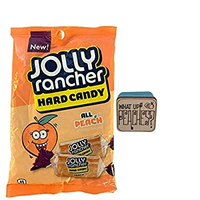 All peach jolly rancher hard candy single bag (choose size, 1, 2, 4, 6, or 8 bags) - 7 oz each bag. Includes Wood Tile Magnetic Clip with funny phrase. (1 Bag)