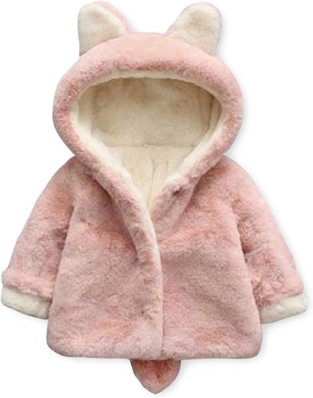 PatPat Toddler Girls' Loose Shape Fleece Jackets Faux Fur Long Sleeve Fuzzy Warm Coats