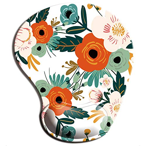 ITNRSIIET Mouse Pad, Ergonomic Mouse Pad with Gel Wrist Rest Support, Floral Mousepad with Lycra Cloth, Non-Slip PU Base for Gaming Computer, Laptop, Home, Office & Travel, Flowers