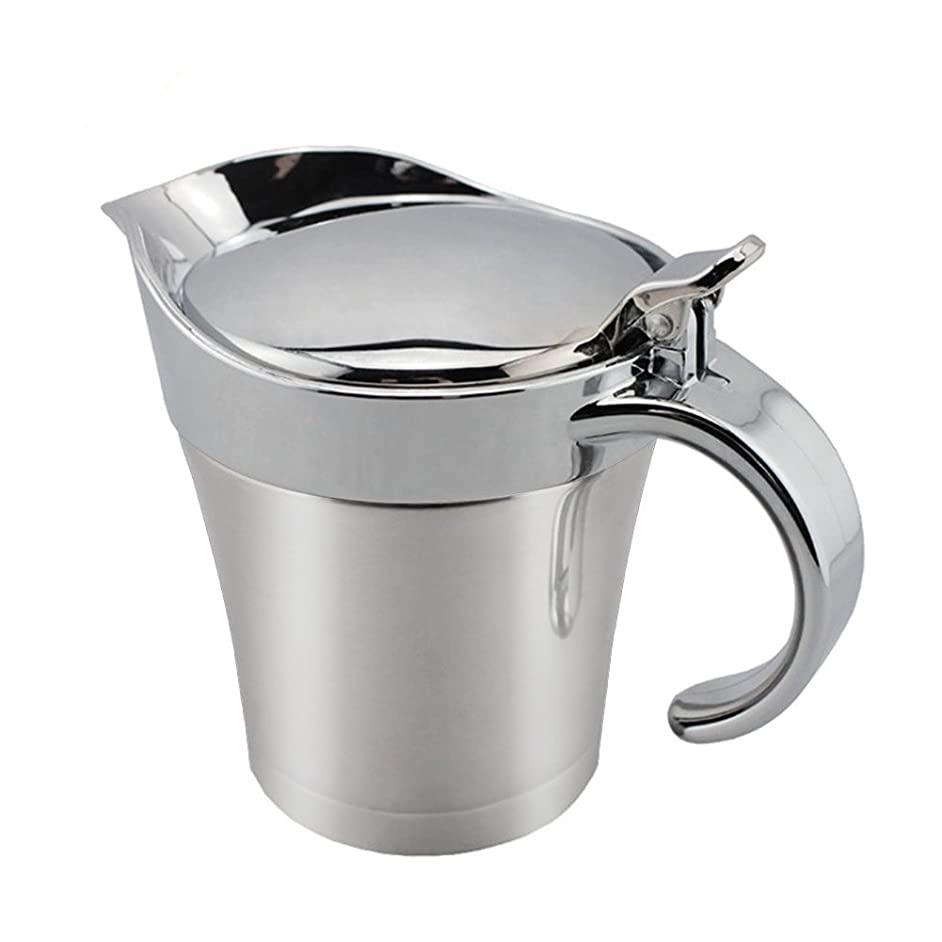 GZQ Gravy Boat Stainless Steel Double Insulated Sauce Jug with Hinged Lid 17 Oz (500ml) Capacity