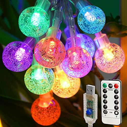 Catena Luminosa LED,Damtong 80 LED 10.5M Multicolori Crystal Globe Luce Stringa,con Telecomando 8 Modalità Impermeabile USB Lucine,Per Decorazione Interni Esterno, Stanza, Terrazza, Giardino, Festa