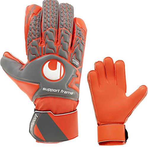 uhlsport Torwarthandschuhe SF Fingersave Fingerschutz grau/orange (11)
