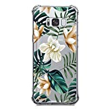 Galaxy S8 Case, Ultra Crystal Clear Case with Design Tropical Palm Tree Leaves Floral Pattern Print Anti Scratch Bumper Protective Case for Samsung Galaxy S8 Flexible Soft Gel Silicone Flowers Cover