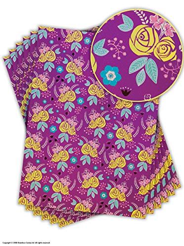 Mooi Mauve & Geel 'Bloemen' Ontwerp Dubbelzijdig Geschenkverpakking/Inpakpapier 6 Sheets Geel