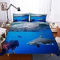 3Dエフェクトプリント寝具セット、マイクロファイバー羽毛布団カバーセットジッパー付きキルトカバー+ 50x75ピローケース超ソフト快適(シングル3pcs-135x200 + 50x75cm、サメ)