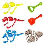 Liberty Imports 3 Pack Large Dinosaur Fossil Sand Molds Beach Toy Set with Rake and Shovel for Kids Summer Outdoors (25 Pcs Playset)