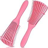 EZ Detangler Brush, MORGLES 2 Pack Detangling Brush for Curly Hair Detangler Hair Brush for African American Hair 3a to 4c Kinky Wavy Coily Thick Dry Long Kids Hair