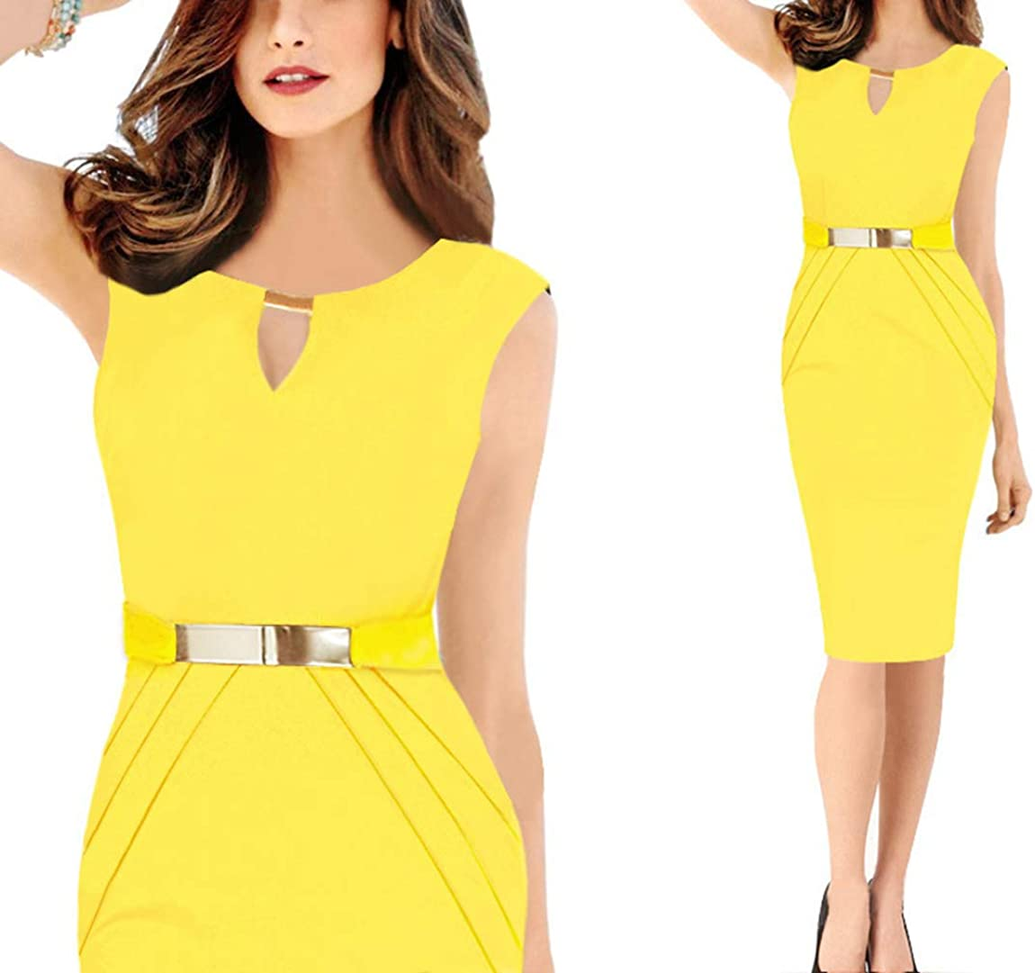 Women Vintage Sleeveless Wear to Work Business Cocktail Party Bodycon Dress