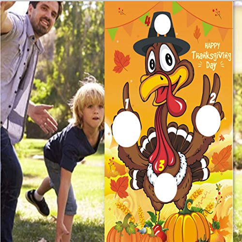N/D Thanksgiving Day Games - Thanksgiving Turkey Bean Bag Game Sets with 3 Bean Bags for Kids Adults Indoor or Outdoor - Turkey Hanging Toss Game Banner Fall Decorations (Yellow)
