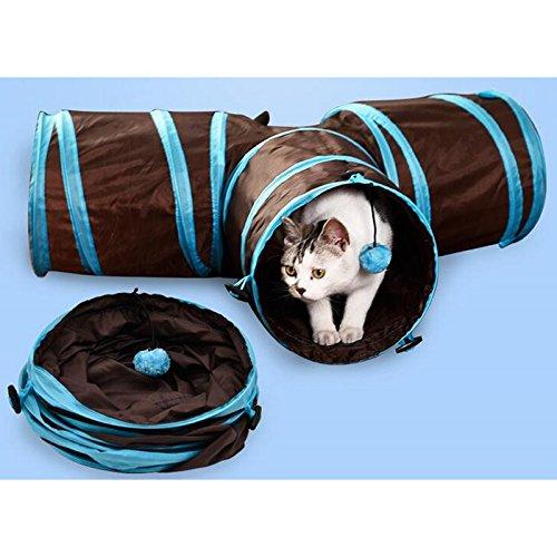 Wiiguda@ Tunnel Gatto Pieghevole a 3 Vie Giocattoli Gatto Tunnel per Conigli Animali Cane Interattivo Giocattoli