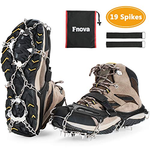 Fnova Crampons Ice Cleats Traction Cleats Ice Snow Grips Crampons for Boots Shoes Crampons for Mens Womens, Hiking, Walking, Climbing,Mountaineering