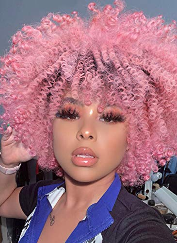 AISI QUEENS Afro Wig Kinky Curly Short Ombre Pink Hair for Black Women 2 Tone Dark Roots Synthetic Heat Resistant Hair Full Wigs for African American(10 Inches,160g)