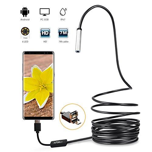 Flylinktech Full HD Boroscopio Endoscopio USB 2.0 Inicio Impermeable Inspección de Tubos Serpiente Video Boroscopio Visual Cámara / 300.000 píxeles CMOS / impermeable IPX67 / 7MM Diámetro / 6 LED /60 ° de ángulo (7M)