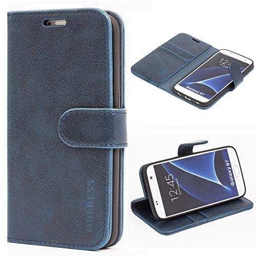 Mulbess Handyhülle für Samsung Galaxy S7 Hülle Leder, Samsung Galaxy S7 Handy Hüllen, Vintage Flip Handytasche Schutzhülle für Samsung Galaxy S7 Case, Navy Blau