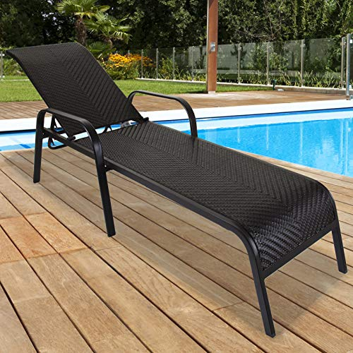 Marko Outdoor Sun Lounger PP Rattan Woven Stackable Outdoor Garden Patio Furniture 4 Position (Set of 2)
