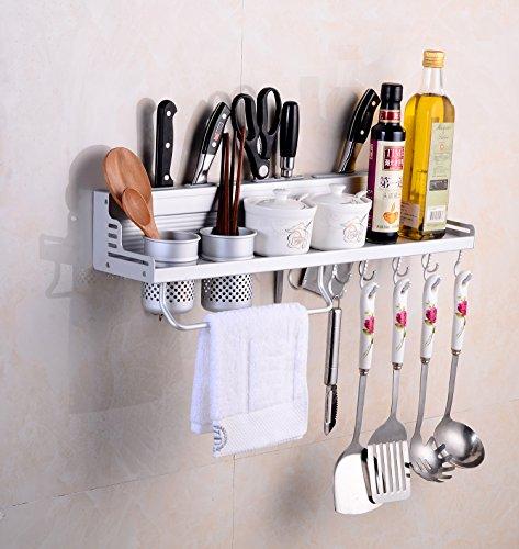 SENYANG Multifunktions Küche Rack Organizer Regale , Wand hängende Aluminium Küche Rack von Wand Regal, gehören Gewürz Flasche Rack, Utensilien und andere Küche Gadgets (Silber)