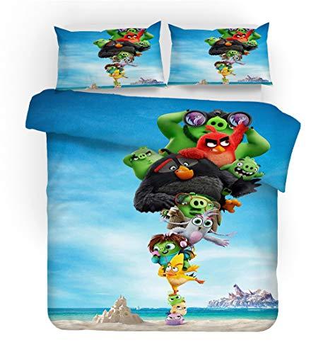 NICHIYO Angry Birds Juego de ropa de cama – Funda nórdica y funda de almohada, microfibra,...