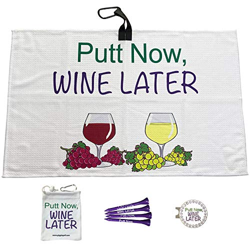 Giggle Golf Par 3 - Waffle Golf Towel, Tee Bag with 4 Tees, and Bling Ball Marker with Hat Clip - Perfect Golf Gift for Women (Putt Now Wine Later)