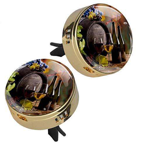 Vockgeng Copa de Vino Tinto (2 Piezas) ambientador Coche Difusor de ventilación de Aceite Esencial Ambientador para de Coche aromaterapia con 4 Almohadillas de Recarga 34x47mm