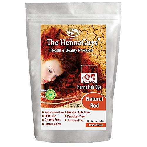 Henna Haarfarbe/Farbstoff - Gramm - Bestes Henna für Haare, natürliche Haarfarbe - chemikalienfreie Haarfarbe - The Henna Guys (1 Pack, Natural Red)