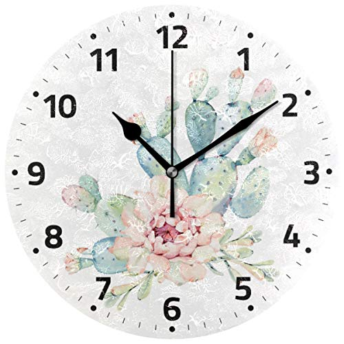 Watercolor Cactus Cacti Tropical Flowers Wall Clock Battery Operated Non Ticking Silent Acrylic Quartz Decorative Clocks for Home Office Kitchen School Easy to Read