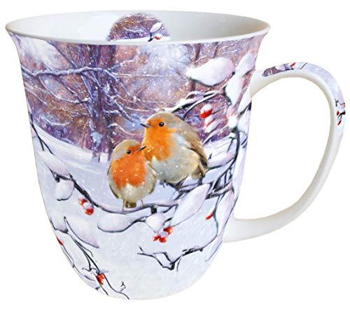 Ambiente Porzellan Becher Tasse Bone China Mug Robins On Branch Fuer Tee Oder Kaffee ca. 0,4L Herbst Winter Weihnachten Ideal Als Geschenk