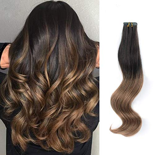 ABH AmazingBeauty Hair Pre-Taped Brown Ombre Hair Tape in Extensions Remy Human Hair Skin Weft, Invisible, Seamless and Reusable, Two Toned Darkest Brown Fading into Chestnut Brown T2-6, 22 Inches