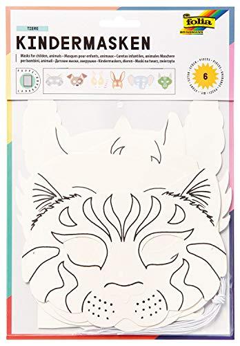 folia 23209 - Kindermasken Tiere aus Pappe, Motive sortiert, 6 Stück, weiß, zum selbst Bemalen und Gestalten, für Kinder, Jungen und Mädchen, ideal für Kindergeburtstage und Partys