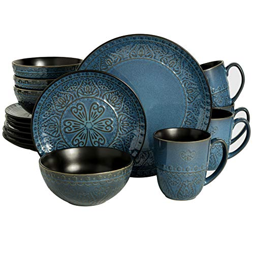 Gibson Elite Milanto Round Embossed Reactive Glaze Stoneware Dinnerware Set, Service for Four (16pcs), Blue