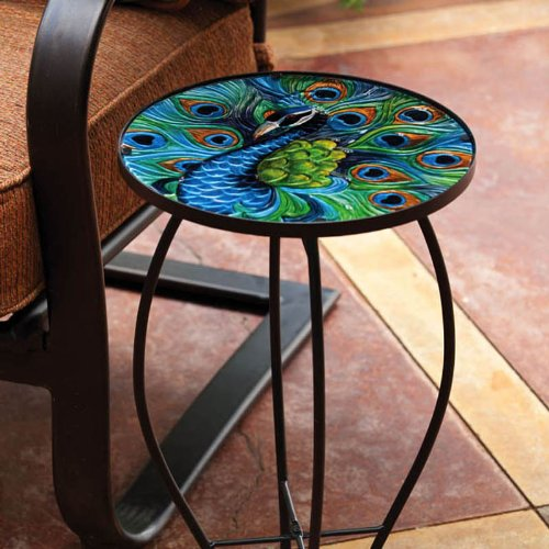 "Evergreen Garden Outdoor-Safe Round Peacock Glass Metal Side Table - 12"" L x 12"" W x 22"" H Indoor Outdoor Side Tables for Your Patio, Lawn, Garden or Home Décor"