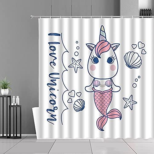 XCBN Cartoon Einhorn Duschvorhänge Rosa Blumen Einhörner Druck Bad Vorhang Kinderzimmer Home Badezimmer Dekor Display A6 90x180cm