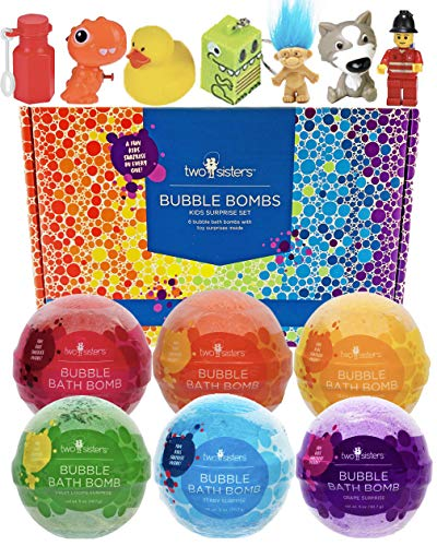 Bubble Bath Bombs for Kids with Surprise Toys Inside for Boys and Girls by Two Sisters Spa. 6 Large...
