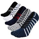 LOFIR Zehensocken Herren Fünf Finger Socken aus Baumwolle Anti-Rutsch Sneaker Socken Lässige 5 Finger Socken, Größe 39-44, 5 Paare