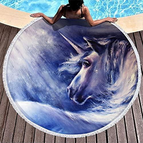 Tobgreatey Toalla de playa redonda con borlas Fantasy Unicornio pintura grande de felpa para niños blanco 150 cm