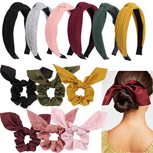 Jaciya - 12 diademas anudados con lazo para mujer, diademas de turbante para mujer, banda ancha para la cabeza de nudo, 12 colores
