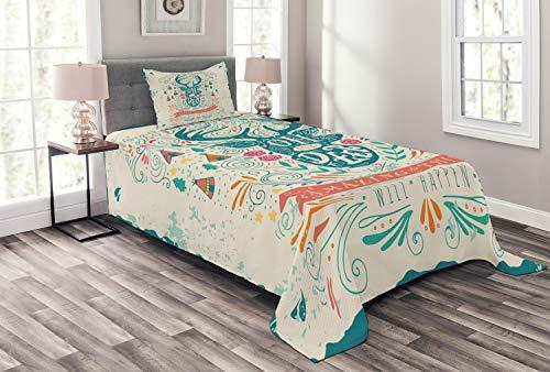 ABAKUHAUS Jahrgang Tagesdecke Set, Inspiration Ornament, Set mit Kissenbezug farbfester Digitaldruck, für Einselbetten 170 x 220 cm, Mehrfarbig