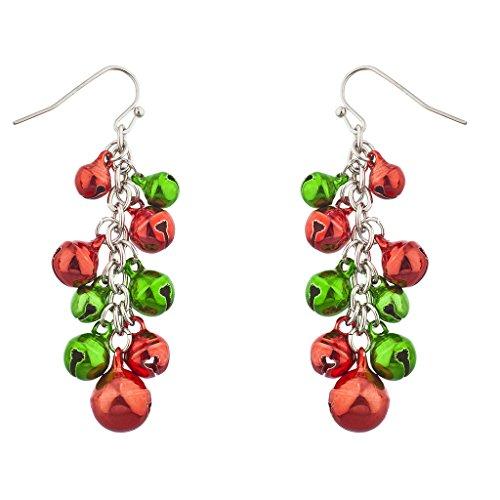 Lux Accessories Multicolor Silver Tone Christmas Jingle Bells Dangle Earrings
