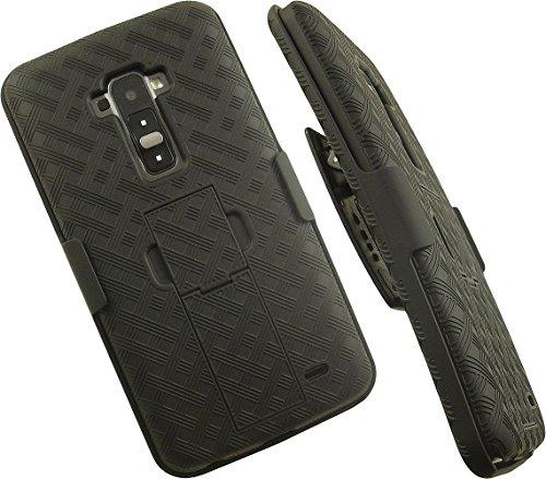 NAKEDCELLPHONE'S Black Kickstand Hard CASE Cover + Belt Clip Holster Stand for LG G Flex GFLEX Phone (AT&T D950, Sprint LS995, T-Mobile D959n, Unlocked F340 D955 D958 D959 F340s L23)