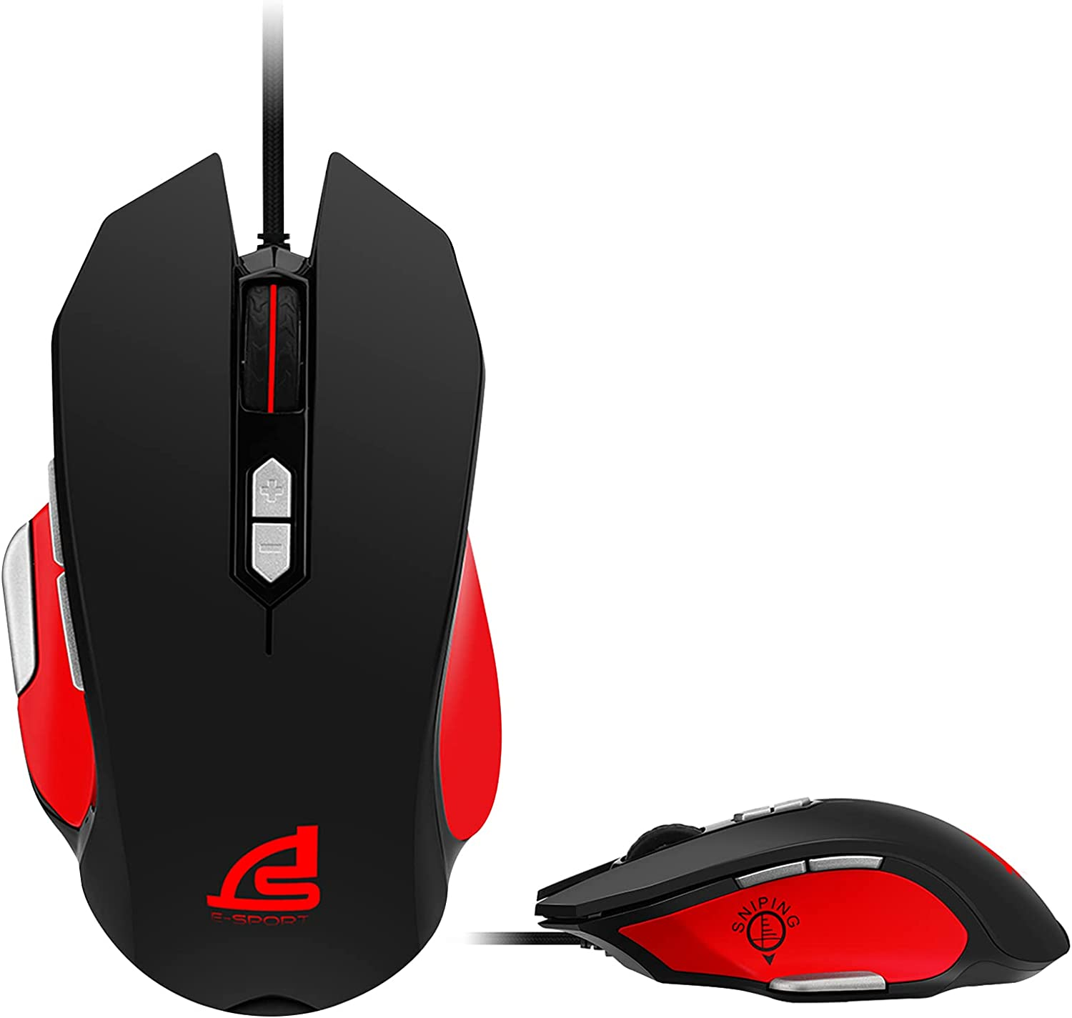 SIGNO Gaming Mouse Wired High Sensitivity Ergonomic Sweat-Resistant RGB Lighting Real 500-4000 DPI Adjustable 8 Programmable Buttons PC and MAC for Windows 7 8 10(GM-917)