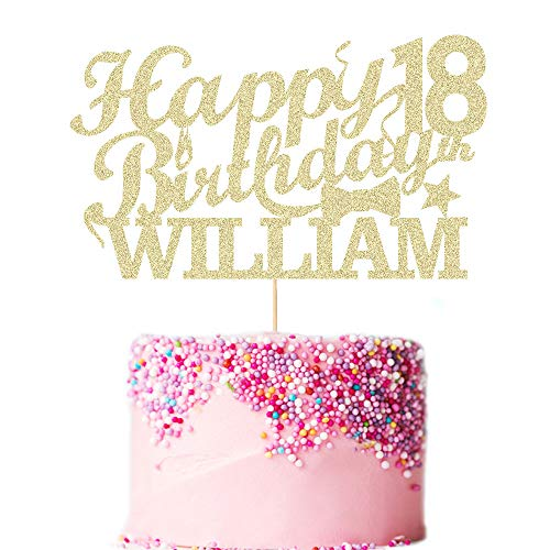 Howson London Happy 18th Birthday Cake Topper. Personalised Double Sided Glitter Cake Decoration Custom Any Name Any Age 18, 21, 30, 40, 50, 60 Hand Finished in UK