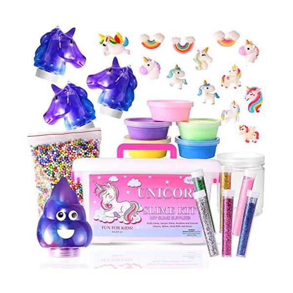 Stellaro Unicorn Slime Kit for Girls DIY Fluffy Unicorn Slime Making Kit, 30 Slime Kit Pieces Beads Unicorns Glitter… 2