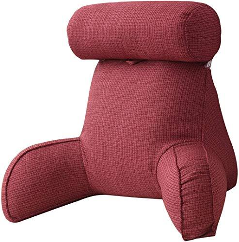 Cojín de lectura con brazo de transporte y bolsillos laterales, perfecto para adultos que leer/televisión/en la cama (rojo vino)
