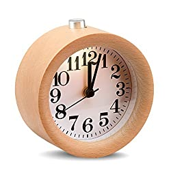 ECVISION Handmade Classic Small Round Silent table Snooze beech Wood Alarm Clock with nightlight