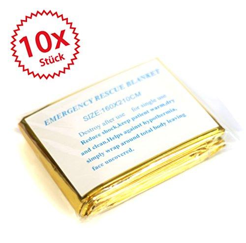 *10 x Rettungsdecke, Rettungsfolie, Notfalldecke, Erste- Hilfe- Decke, gold/ silber, 210 x 160*