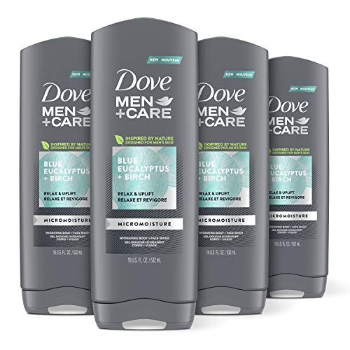 Dove Men+Care Mens Body Wash Dry Skin Body Wash with Micromoisture, Blue Eucalyptus and Birch Effectively Washes Away Bacteria While Nourishing Your Skin 18 oz 4 Count