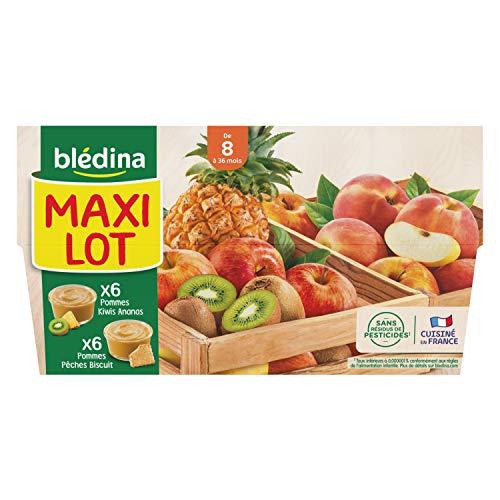 Blédina 12 Coupelles Fruits - 6 Pommes Kiwis Ananas/6 Pommes Pêches Biscuits dès 8 mois