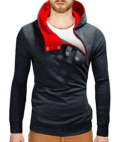 BetterStylz Kapuzenpullover PCOBZ Hoher Kragen Pullover Hoodie Sweatshirt div. Farben (S-XXL) (L, Dunkel Grau/Rot)